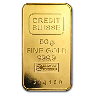 Credit Suisse Gold Bar - Circulated in good condition - 50 g