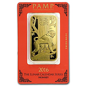 PAMP Lunar Series 2016 Gold Bar - Year of the Monkey - 100 g