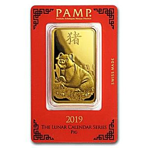 PAMP Lunar Series 2019 Gold Bar - Year of the Pig - 100 g