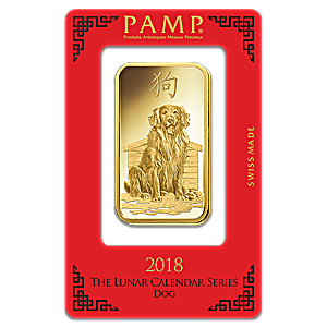 PAMP Lunar Series 2018 Gold Bar - Year of the Dog - 100 g