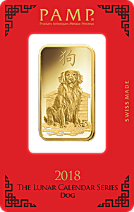 PAMP Lunar Series 2018 Gold Bar - Year of the Dog - 1 oz