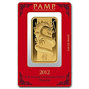 PAMP Lunar Series 2012 Gold Bar - Year of the Dragon - Circulated in good condition - 100 g