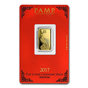 PAMP Lunar Series 2017 Gold Bar - Year of the Rooster - 5 g