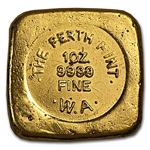 Perth Mint Gold Bar 1 Oz Square Button Design