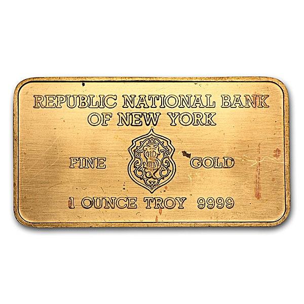 Heraeus Gold Bar - Republic National Bank of New York - 1 oz