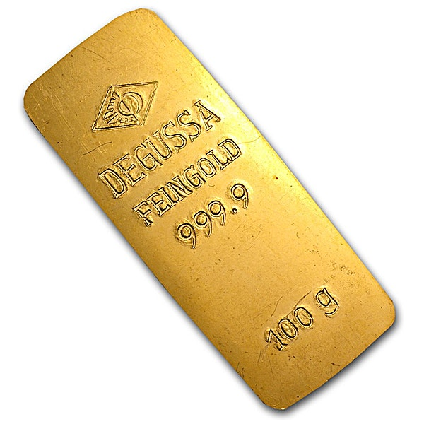 Degussa Gold Bar - Circulated in good condition - Stamped - 100 g
