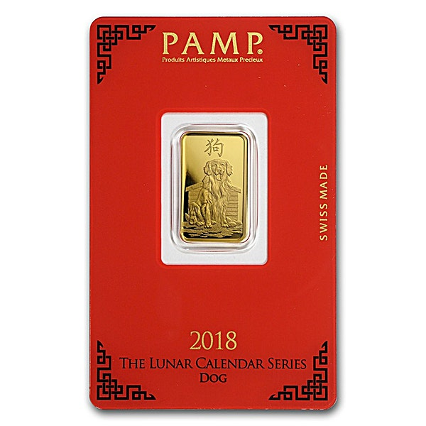 PAMP Lunar Series 2018 Gold Bar - Year of the Dog - 5 g