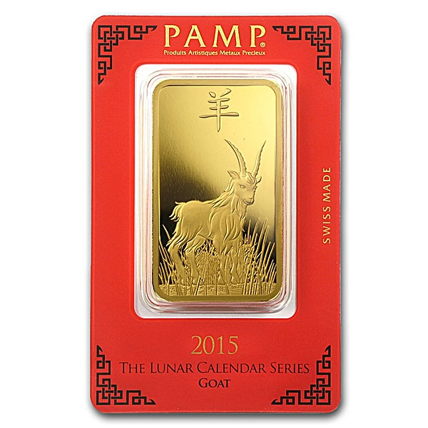 PAMP Lunar Series 2015 Gold Bar - Year of the Goat - 100 g