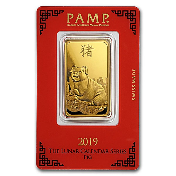PAMP Lunar Series 2019 Gold Bar - Year of the Pig - 1 oz