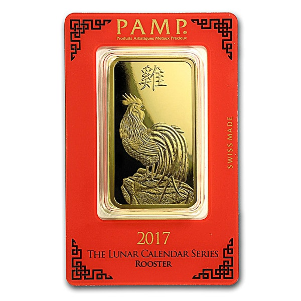 PAMP Lunar Series 2017 Gold Bar - Year of the Rooster - 100 g