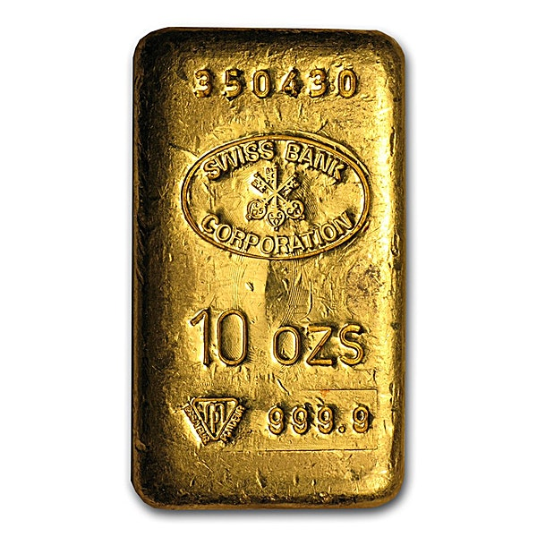Swiss Bank Corporation Gold Bar - 10 oz