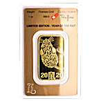 Argor-Heraeus Gold Lunar Series Bar 2020 - Year of the Rat - 1 oz thumbnail