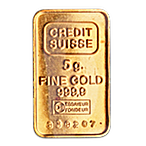 Credit Suisse Gold Bar - Circulated in good condition - 5 g  thumbnail