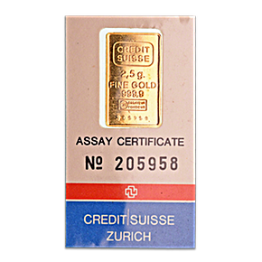 Credit Suisse Gold Bar - Circulated in good condition - 2.5 g