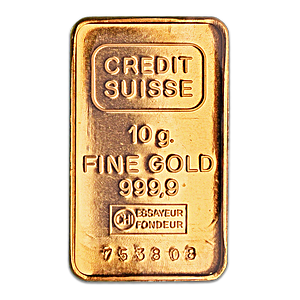 Credit Suisse Gold Bar - Circulated in good condition - 10 g