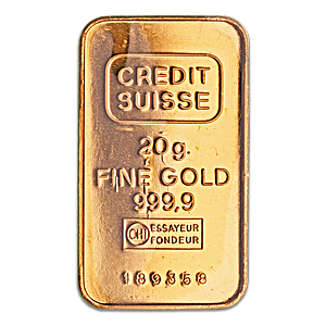 Credit Suisse Gold Bar - Circulated in good condition - 20 g