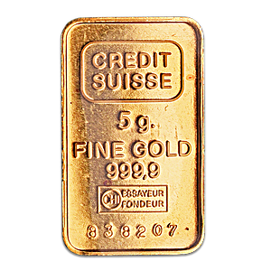 Credit Suisse Gold Bar - Circulated in good condition - 5 g
