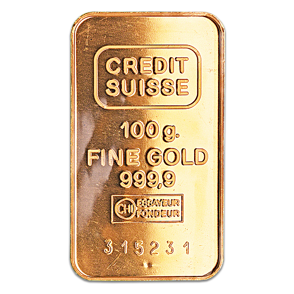 Credit Suisse Gold Bar - Circulated in good condition - 100 g