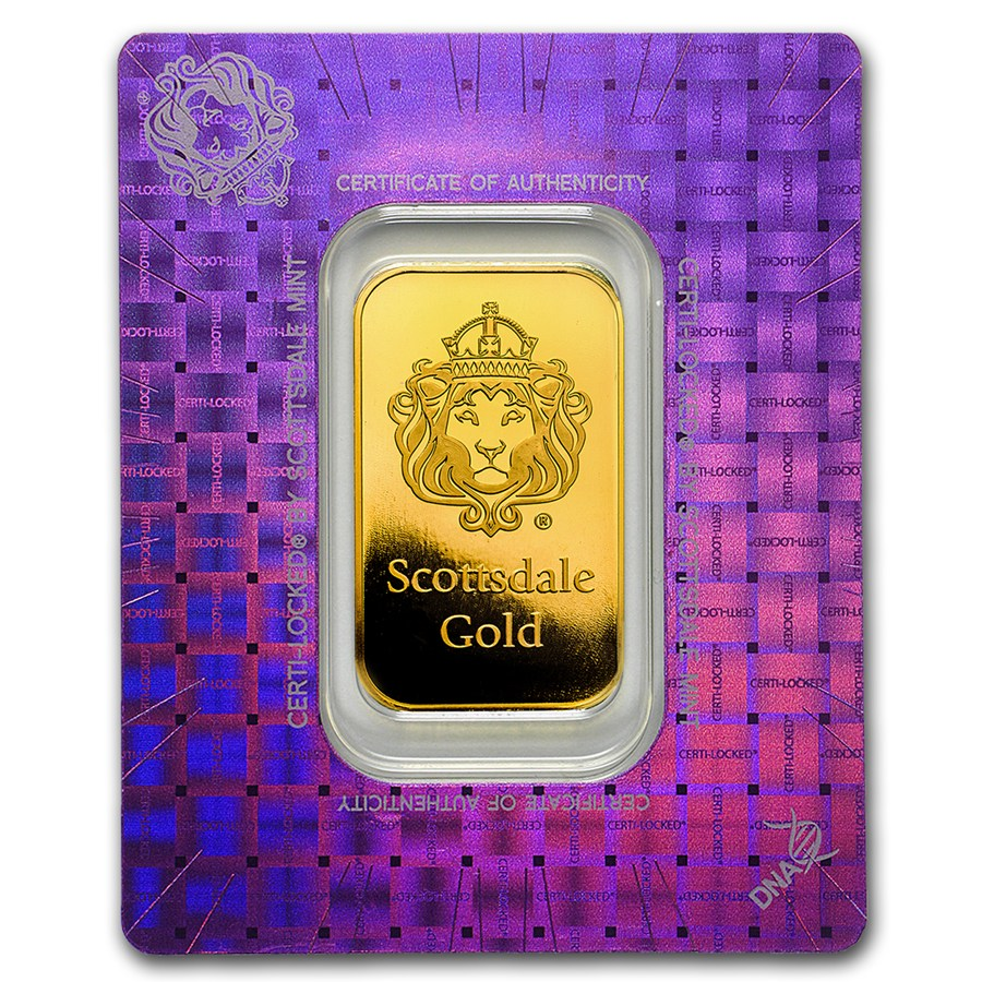 Scottsdale Mint Gold Bar 1 Oz In Certi Lock Assay Silver Scootsdale The One 1oz