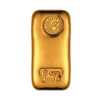 Perth Mint Gold Cast Bar 5 Oz Bullionstar Singapore