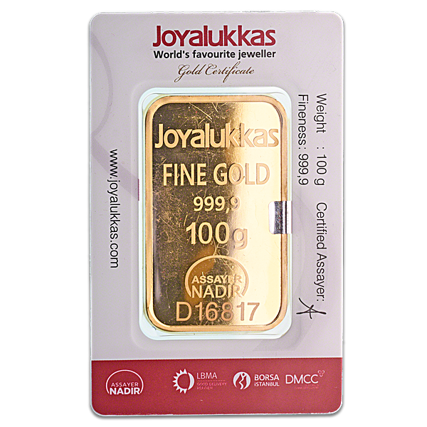 Joyalukkas Gold Bar - Circulated in good condition - 100 g