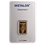 Metalor Gold Bar - Circulated in good condition - 5 g thumbnail