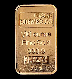 Gold Bar - Various Brands - LBMA - 1/10 oz