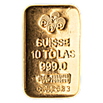 PAMP Gold Cast Bar - Circulated in good condition - 10 tolas thumbnail