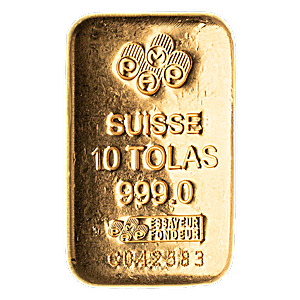PAMP Gold Cast Bar - Circulated in good condition - 10 tolas