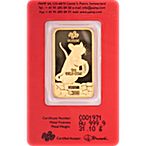 PAMP Lunar Series 2020 Gold Bar - Year of the Mouse - 1 oz thumbnail