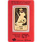 PAMP Lunar Series 2020 Gold Bar - Year of the Mouse - 100 g thumbnail