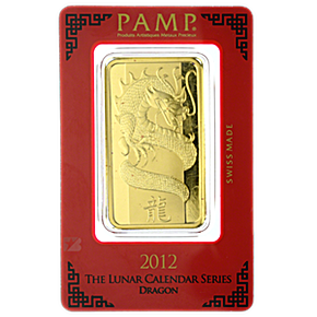 PAMP Lunar Series 2012 Gold Bar - Year of the Dragon - 100 g