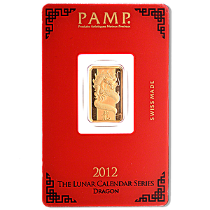 PAMP Lunar Series 2012 Gold Bar - Year of the Dragon - 5 g