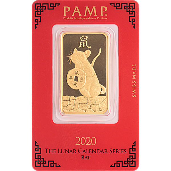PAMP Lunar Series 2020 Gold Bar - Year of the Mouse - 1 oz