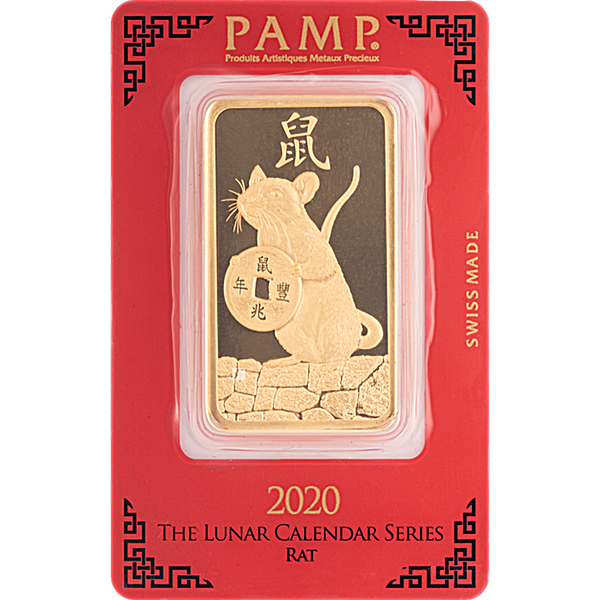 PAMP Lunar Series 2020 Gold Bar - Year of the Mouse - 100 g
