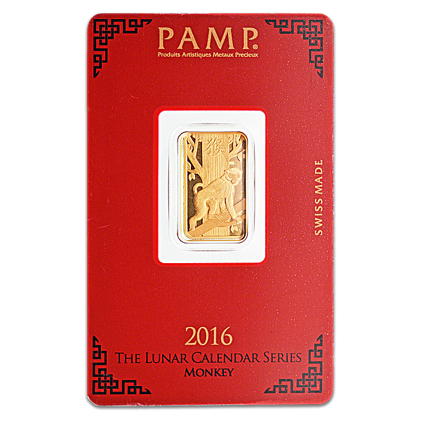 PAMP Lunar Series 2016 Gold Bar - Year of the Monkey - 5 g