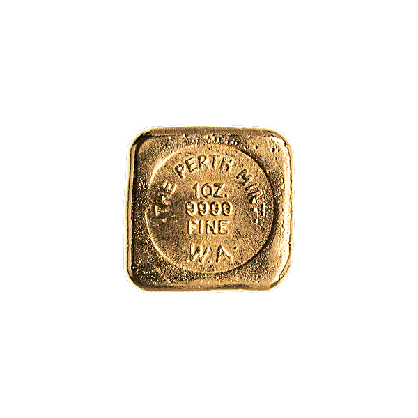 Perth Mint Gold Bar - 1 oz - Square Button design