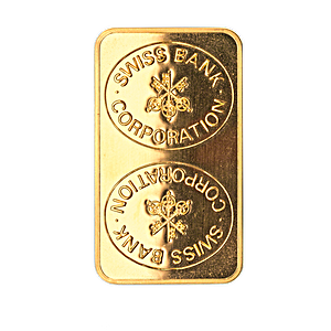 Swiss Bank Corporation Gold Bar - Circulated in good condition - 100 g