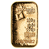 Valcambi Gold Cast Bar - 100 g