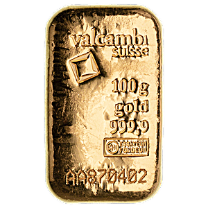 Valcambi Gold Cast Bar - Circulated in good condition - 100 g