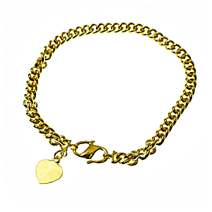Gold Bullion Bracelet with Heart Charm - 20 g