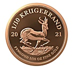 South African Gold Krugerrand 2021 - Proof - 1/10 oz  thumbnail