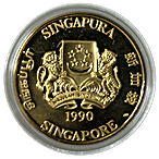 Singapore Gold 25th Anniversary of independence 1990 - Proof - 1 oz thumbnail