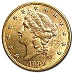 1899 $20 St. Gaudens Gold Double Eagle thumbnail