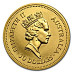 Australian Gold Kangaroo Nugget 1987 - 1/2 oz thumbnail