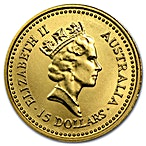 Australian Gold Kangaroo Nugget 1987 - 1/10 oz thumbnail