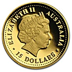 Australian Gold Kangaroo Nugget 2002 - Proof - 1/10 oz thumbnail