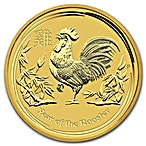 Australian Gold Lunar Series 2017 - Year of the Rooster - 1/20 oz thumbnail
