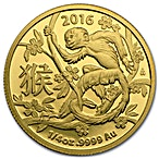 Australian Gold Lunar Series 2016 - Year of the Monkey - Circulated in good condition - Minted by RAM - 1/4 oz thumbnail