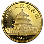 Chinese Gold Panda 1991 - 1 oz thumbnail